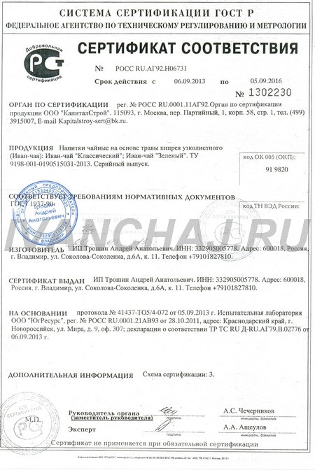 Копорский чай сертификация сертификация мебели по индивидуальным заказам в беларуси 2015